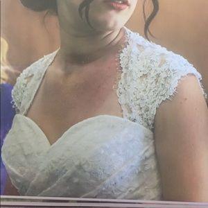 White wedding dress with key whole back lace